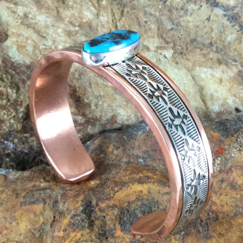 Sterling Silver Copper Cuff Bracelet w/ Sleeping Beauty Turquoise - By Sylvana Apache