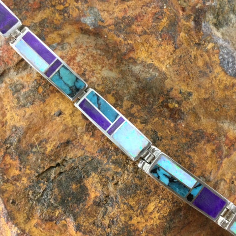 David Rosales Shalako Inlaid Sterling Silver Big Link Bracelet