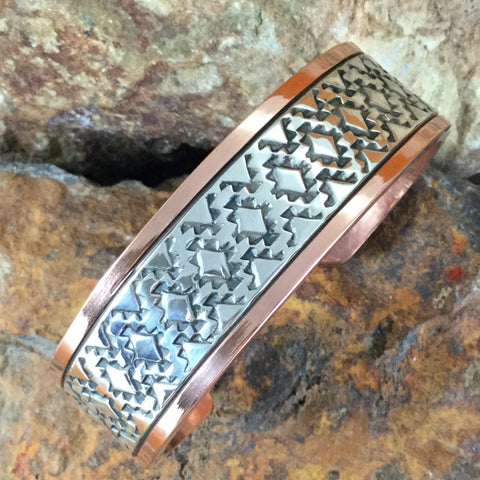 "Sterling Silver & Copper Cuff Bracelet: 3/4"" - By Sylvana Apache"
