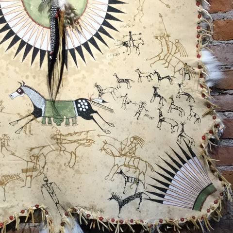 Crow Horse Painting by Laura Mountain on Deer Hide