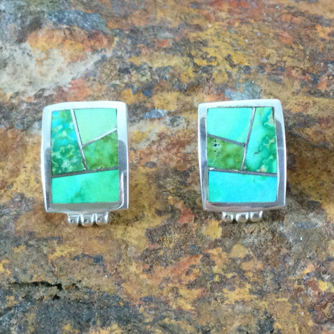 David Rosales Sonoran Gold Inlaid Sterling Silver Earrings