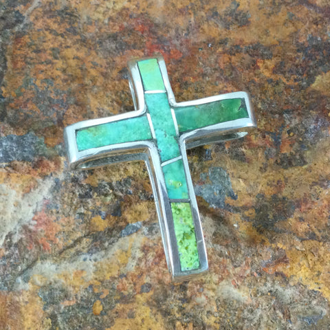 David Rosales Sonoran Gold Inlaid Sterling Silver Pendant Cross