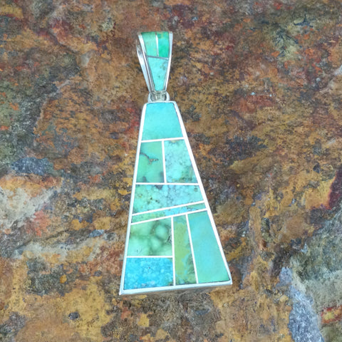 David Rosales Sonoran Gold Inlaid Sterling Silver Pendant