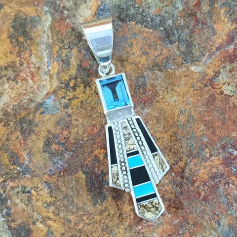 David Rosales Turquoise Creek Inlaid Sterling Silver Pendant w/ Blue Topaz