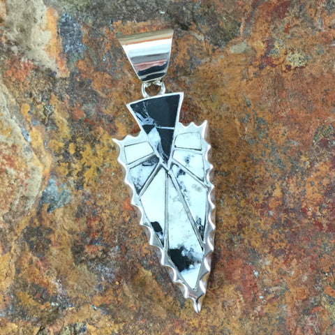 David Rosales White Buffalo Inlaid Sterling Silver Pendant Arrowhead