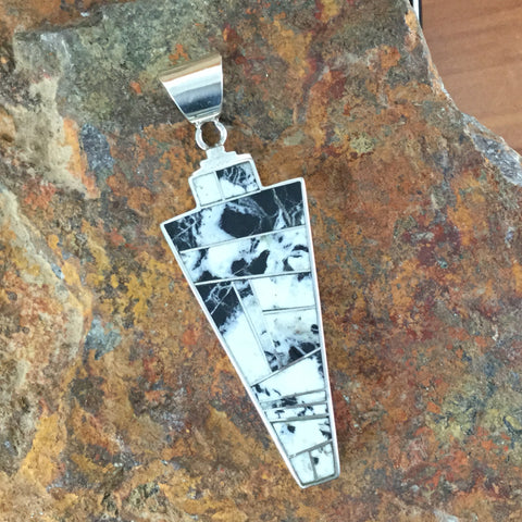 David Rosales White Buffalo Inlaid Sterling Silver Pendant