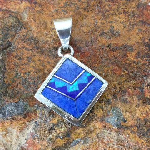 David Rosales Blue Sky Fancy Inlaid Sterling Silver Pendant