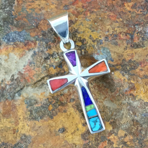 David Rosales Indian Summer Inlaid Sterling Silver Pendant Cross