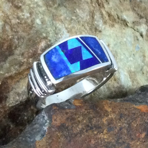 David Rosales Blue Sky Inlaid Sterling Silver Ring