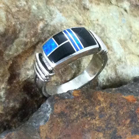 David Rosales Black Beauty Inlaid Sterling Silver Ring