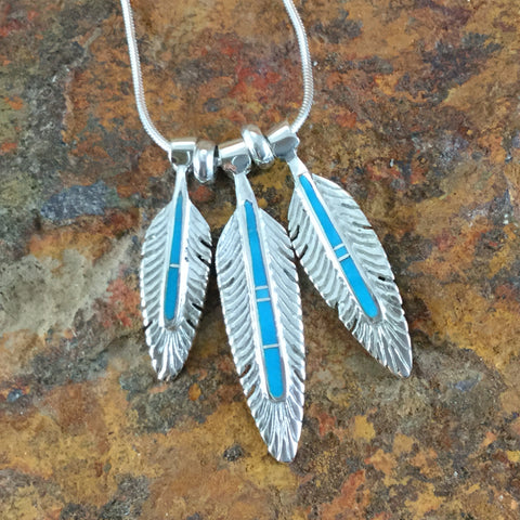 David Rosales Arizona Blue Inlaid Sterling Silver Necklace Feathers