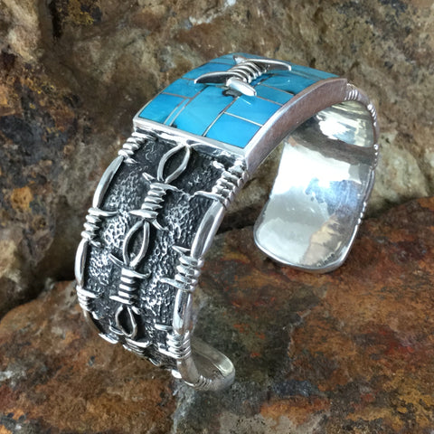 David Rosales Morenci Turquoise Inlaid Sterling Silver Bracelet
