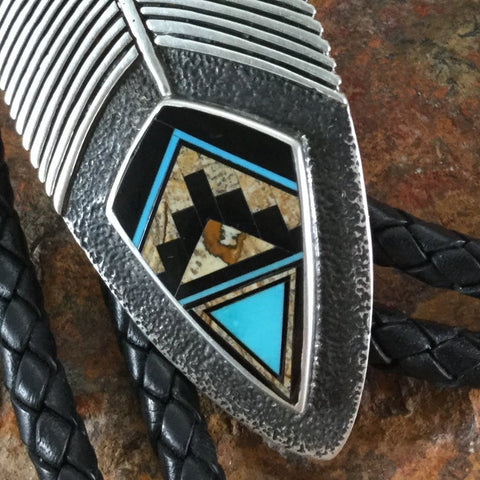 David Rosales Turquoise Creek Inlaid Sterling Silver Bolo Tie