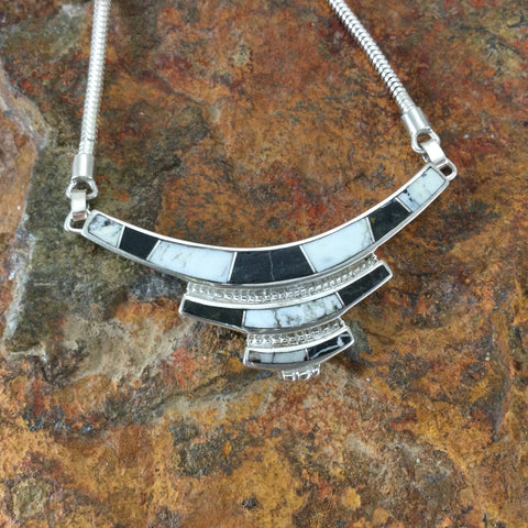 David Rosales White Buffalo Inlaid Sterling Silver Necklace