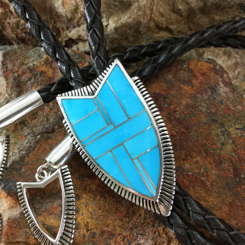 David Rosales Kingman Turquoise Inlaid Sterling Silver Bolo 'Golo' Tie
