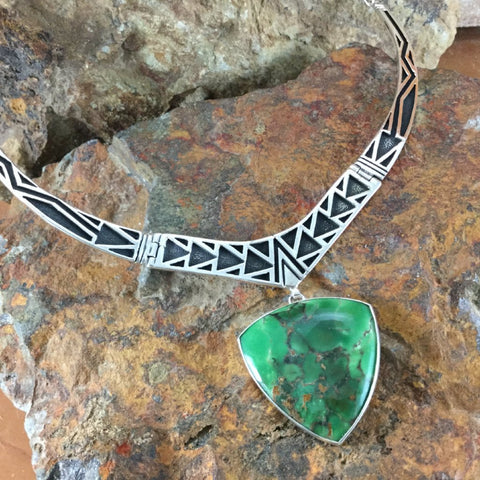 David Rosales Australian Inlaid Variscite Sterling Silver Necklace