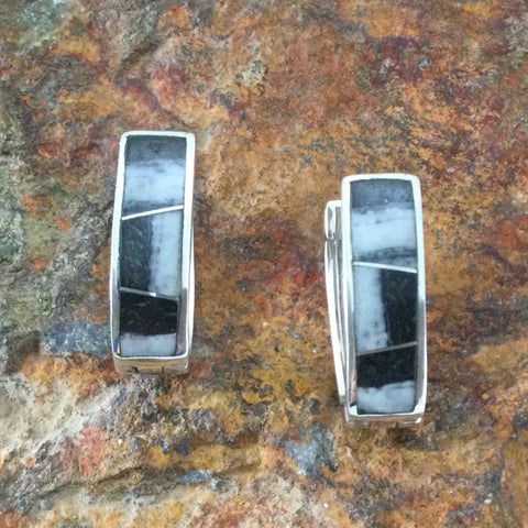 David Rosales White Buffalo Inlaid Sterling Silver Earrings Huggie