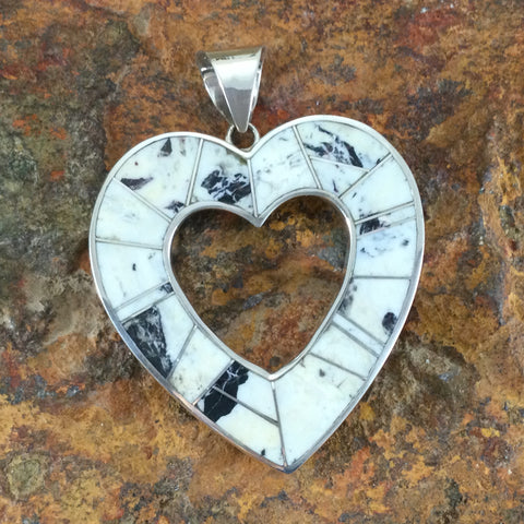 David Rosales White Buffalo Sterling Silver Pendant Heart