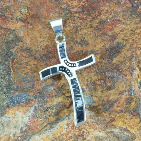 David Rosales White Buffalo Inlaid Sterling Silver Pendant Cross