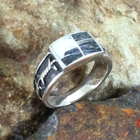 David Rosales White Buffalo Inlaid Sterling Silver Ring