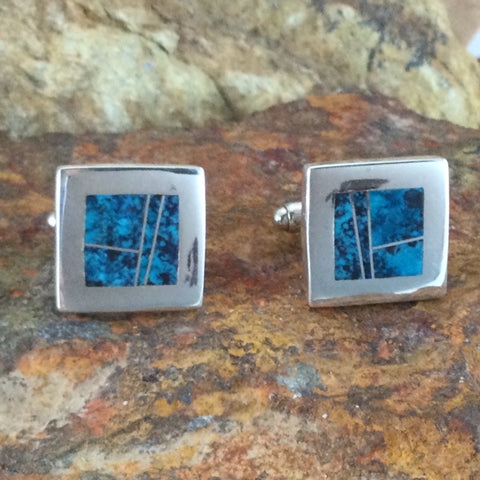 David Rosales Western Skies Inlaid Sterling Silver Cuff Links