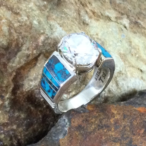 David Rosales Western Skies Inlaid Sterling Silver Ring w/ Cubic Zirconia