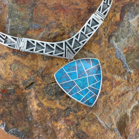 David Rosales Western Skies Inlaid Sterling Silver Necklace