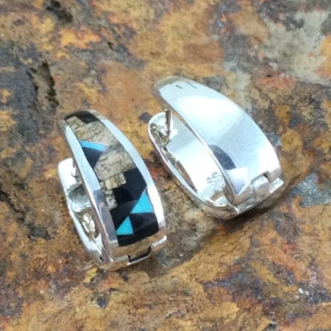 David Rosales Turquoise Creek Fancy Inlaid Sterling Silver Huggie Earrings