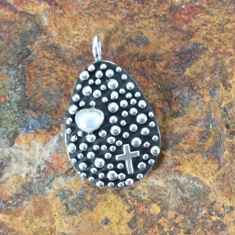 Million Drops Fresh Water Pearl Sterling Silver Pendant by Akee Douglas