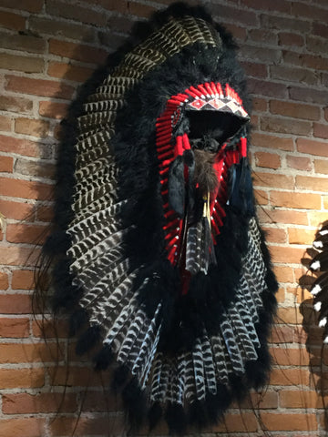 Black Barred Turkey Headdress with Trailer by Navajo Artists