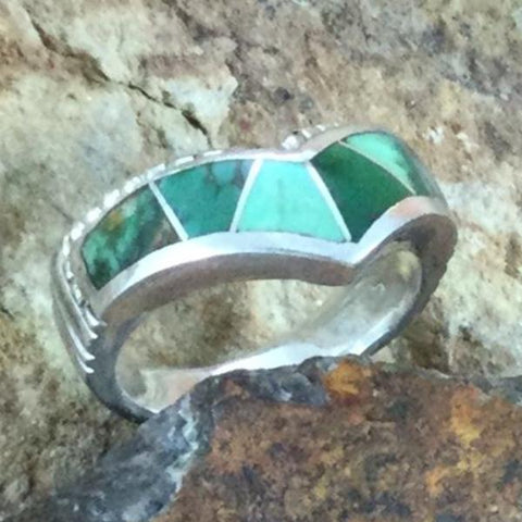 David Rosales Australian Variscite Inlaid Sterling Silver Ring