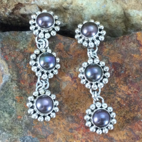 Traditional Sterling Silver Earrings With Pearls by Artie Yellowhorse