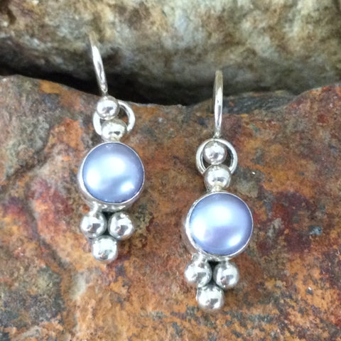 Traditional Sterling Silver Earrings With Pearl by Artie Yellowhorse