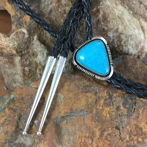 Kingman Turquoise Sterling Silver Leather Bolo Tie by Wil Denetdale