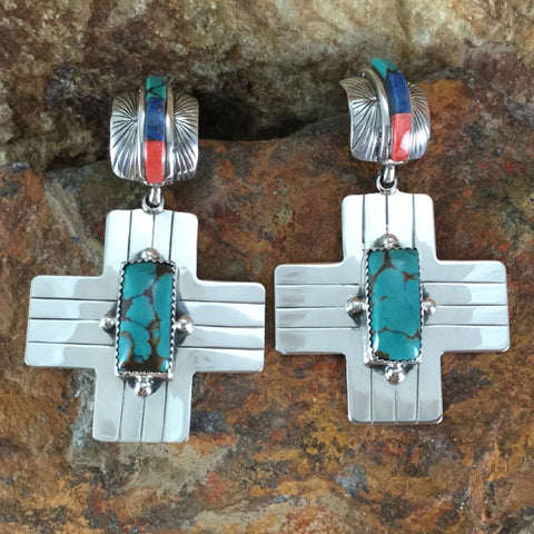 Tibetan Turquoise & Orange Spiny Sterling Silver Earrings by Billy The Kid