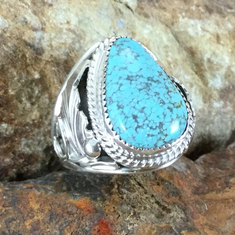 Number 8 Turquoise Sterling Silver Ring by Fritson Toledo SIZE 10