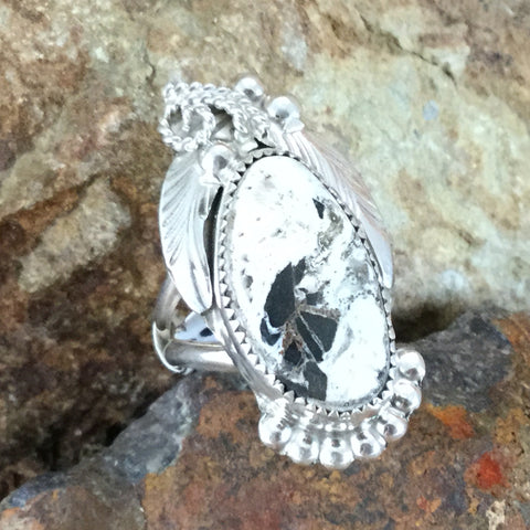 White Buffalo Sterling Silver Ring by Fritson Toledo Size 6