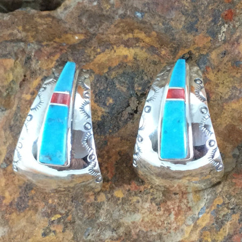 Kingman Turquoise & Orange Spiny Oyster Sterling Silver Earrings