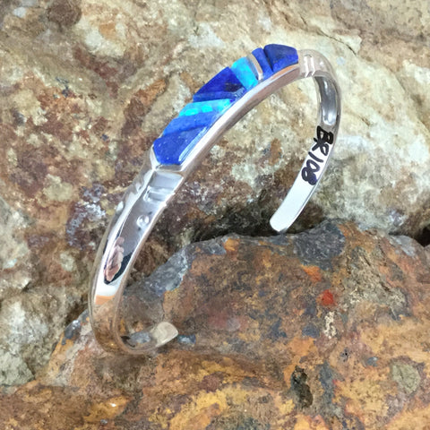 NEW David Rosales Blue Sky Cobble Inlaid Sterling Silver Bracelet