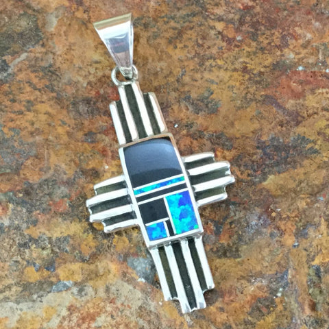 David Rosales Black Beauty Inlaid Sterling Silver Pendant Cross