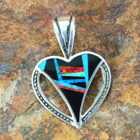 David Rosales Red Moon Inlaid Sterling Silver Pendant Heart