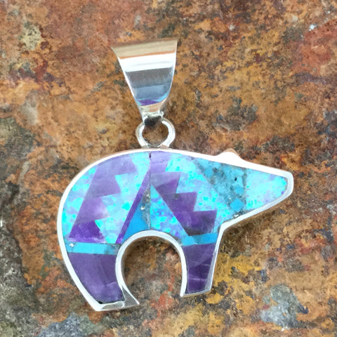 David Rosales Shalako Fancy Inlaid Sterling Silver Pendant Bear