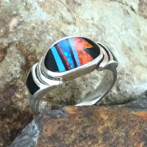 David Rosales Red Moon Fancy Inlaid Sterling Silver Ring