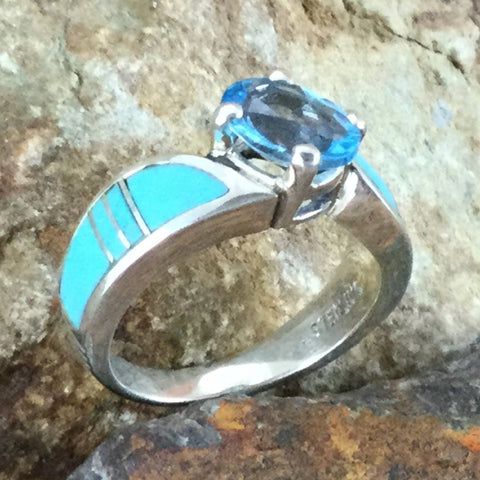 David Rosales Arizona Blue Inlaid Sterling Silver Ring