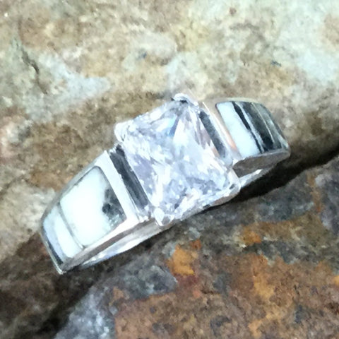 David Rosales White Buffalo Inlaid Sterling Silver Ring w/ Cubic Zirconia
