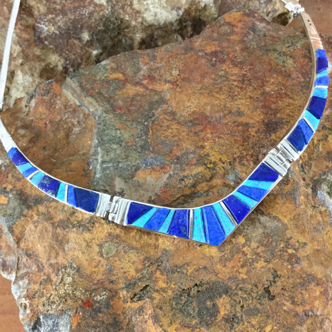 NEW David Rosales Blue Sky Inlaid Sterling Silver Necklace