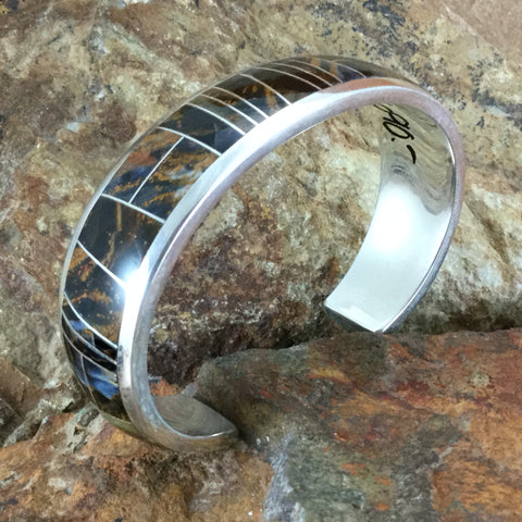 NEW David Rosales Pietersite Inlaid Sterling Silver Bracelet