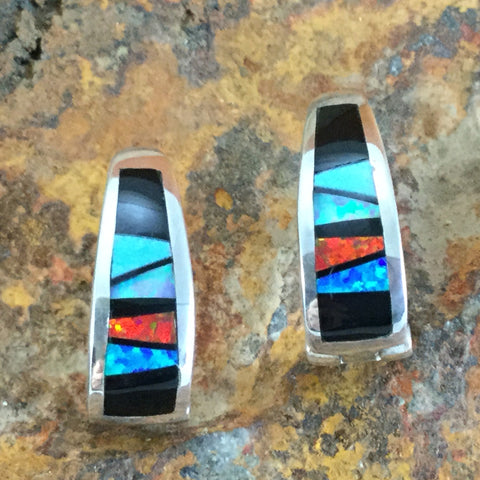 David Rosales Red Moon Inlaid Sterling Silver Huggie Earrings