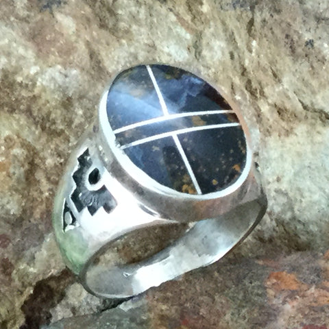 NEW David Rosales Pietersite Inlaid Sterling Silver Ring