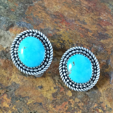 Kingman Turquoise Sterling Silver Earrings by Elgin Tom - Clip